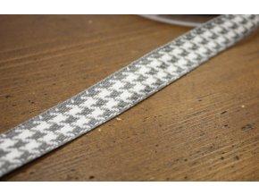 Šedobílá žakárová stuha kohoutí stopa, 15MM