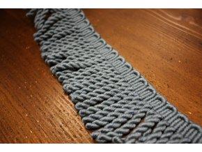 Šedomodré bavlněné benátské třásně, 7cm