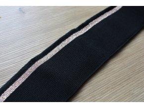 Černý náplet s měděným pruhem a lurexem, 5,5cm