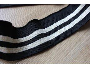 Černý pruhovaný náplet, 5,5cm