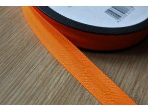 Oranžový gabardénový šikmý proužek, 14mm