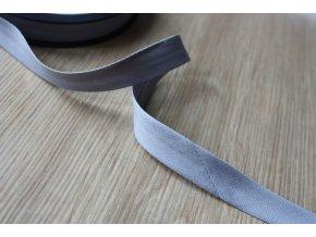 Šedý gabardénový šikmý proužek, 14mm