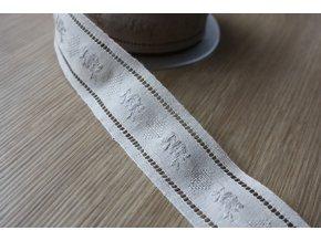 Lněná žakárová stuha, 32mm