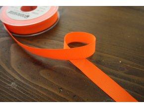 Neonově oranžová rypsová stuha, 16 mm