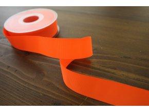 Neonově oranžová rypsová stuha, 25 mm
