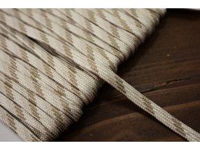 Plochý provaz strakatý do béžová, 5mm