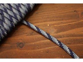 Plochý provaz strakatý (odstíny modré), 5mm