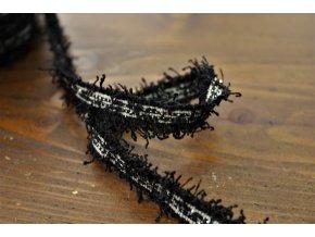 Černý třpytivý prýmek, 12mm