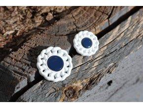 Modro-bílý knoflík ve stylu Chanel, 16mm a 23mm