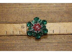 Zelený knoflík s červeným středem