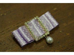 Brož - puntíkatá mašlička světle fialová