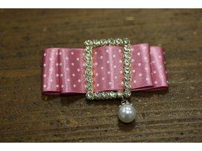 Brož - puntíkatá mašlička růžová