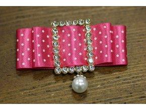 Brož - puntíkatá mašlička výrazně růžová