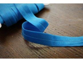 Modrá lesklá jemná guma - lemovka, 19 mm