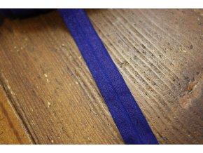 Tmavší modrá lesklá jemná guma - lemovka, 19 mm