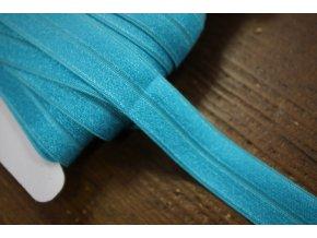 Tyrkysová lesklá jemná guma - lemovka, 19 mm