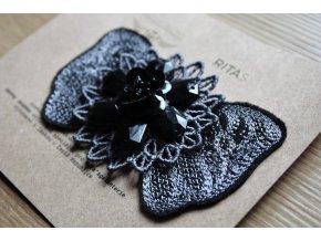 Černo-šedá mašlička s korálky