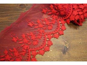 Červená týlová krajka, 10,5cm