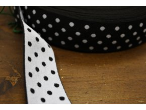 Černá guma s bílým puntíkem, 4cm