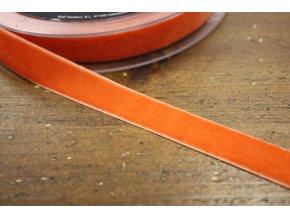 Světle oranžová sametová stuha, 16mm