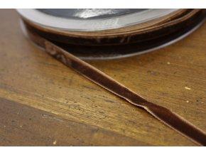 Hnědá sametová stuha, 7 mm