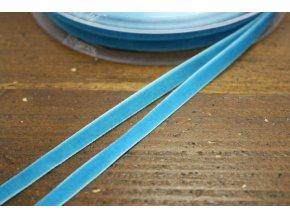 Modrá sametová stuha, 7 mm