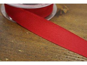 Stuha Petersham v červené barvě, 25mm