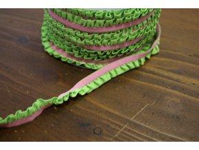 Světle růžová guma s zeleným volánkem, 11mm