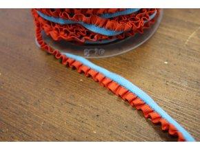 Tyrkysová guma s červeným volánkem, 11mm
