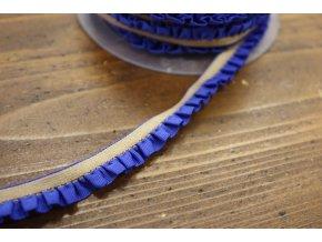 Béžová guma s modrým volánkem, 11mm