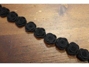 Prýmek z černých růžiček, 18mm