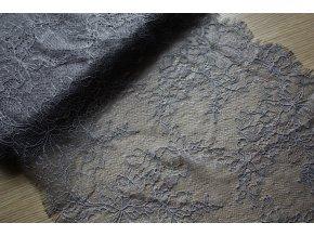 Tmavě šedá jemná krajka, 23cm