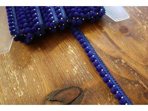 Modrý bambulkový prýmek