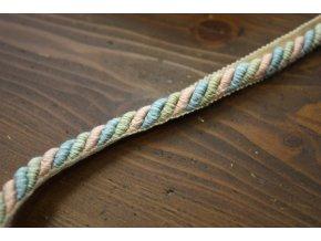 Růžovo-modrá bavlněná kroucená paspulka, 10mm