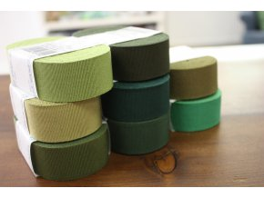 Rypsová stuha v odstínech zelené, 30mm