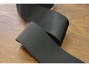 Černá lesklá rypsová stuha, 40mm