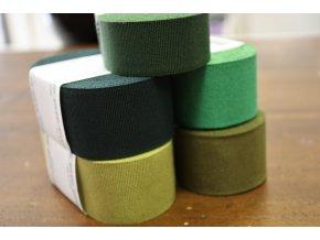 Rypsová stuha v odstínech zelené, 40mm