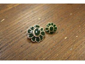 Zeleno-zlatý knoflík ve tvaru květiny stylu Chanel, 2 velikosti