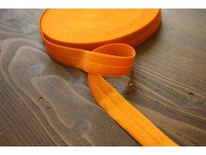 Oranžová lesklá jemná guma - lemovka, 19 mm