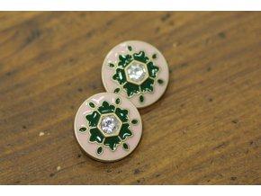 Růžovo-zelený kovový knoflík, 25mm