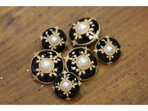 Černý kovový knoflík s perličkou, 18mm a 23mm