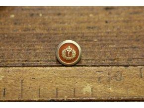 Zlatý knoflík s rezavým středem, 15mm