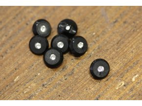Černý knoflík s kamínkem, 11,5mm