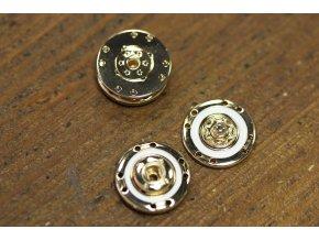 Zlaté kovové patenty s bílým středem, 18mm