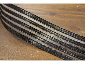 Ozdobná černa guma s průsvitnými pruhy, 4,2cm