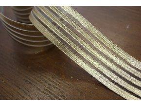 Ozdobná zlatá guma s průsvitnými pruhy, 4,2cm