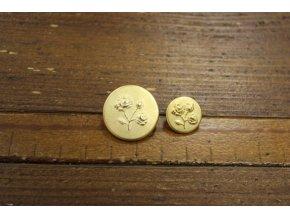 Zlatý knoflík s růžičkou, 22mm, 15mm