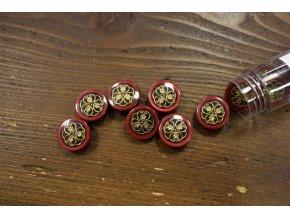 Červený knoflík s dekorativním středem,  18mm