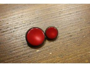 Červený  knoflík s bronzovým okrajem, 25mm a 18mm