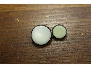 Světle šedý knoflík s bronzovým okrajem, 25mm a 18mm